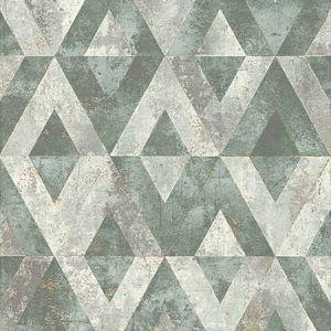 RH535501 Shikhar Teal Geometric Brewster Wallpaper