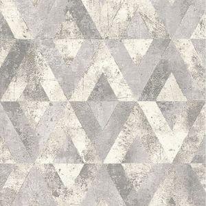 RH535518 Shikhar Silver Geometric Brewster Wallpaper