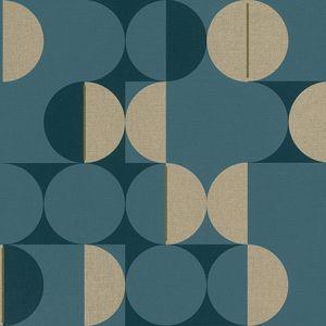 RH538069 Cakara Blue Geometric Brewster Wallpaper