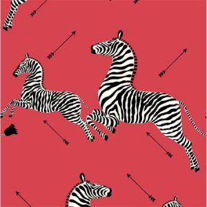 WP81388MV-001 ZEBRAS VINYL Masai Red Scalamandre Wallpaper