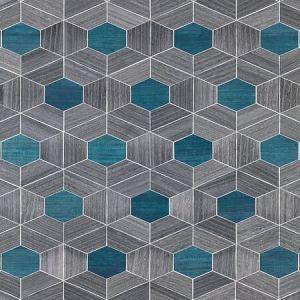 SC 0003 WP88467 HIVE - WOOD Ash & Aqua Scalamandre Wallpaper