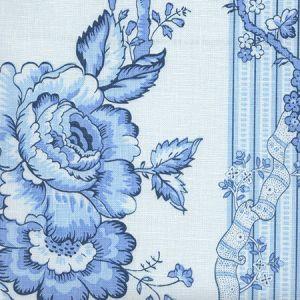 306770F-04L TOILE DES ROSES Blues on Pale Blue on Linen Quadrille Fabric