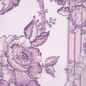 306770F-02L TOILE DES ROSES Lavenders on Pale Lavender Quadrille Fabric