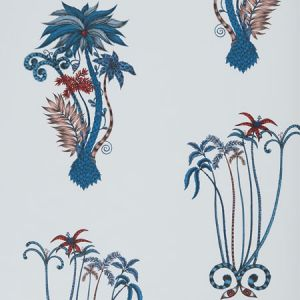 W0101/01 JUNGLE PALMS Blue Clarke & Clarke Wallpaper