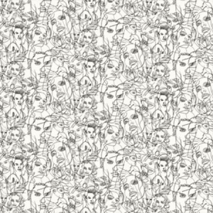WH0 00013322 CROQUIS Ecru Noir Scalamandre Wallpaper