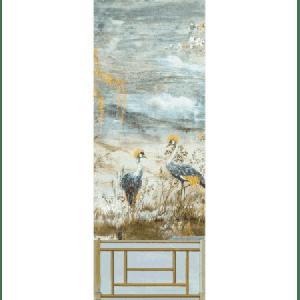 WNM 0001CRESP3 CRESTED CRANE PANEL 3 Wheat Blue Scalamandre Wallpaper