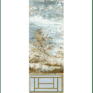 WNM 0001CRESP4 CRESTED CRANE PANEL 4 Wheat Blue Scalamandre Wallpaper