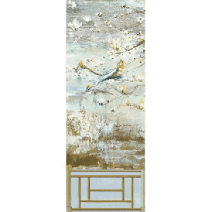 WNM 0001CRESP5 CRESTED CRANE PANEL 5 Wheat Blue Scalamandre Wallpaper