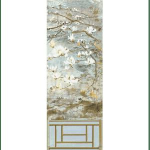 WNM 0001CRESP6 CRESTED CRANE PANEL 6 Wheat Blue Scalamandre Wallpaper