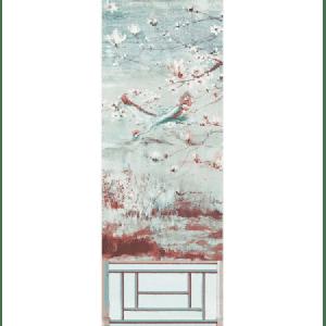 WNM 0002CRESP5 CRESTED CRANE PANEL 5 Turquoise Red Scalamandre Wallpaper