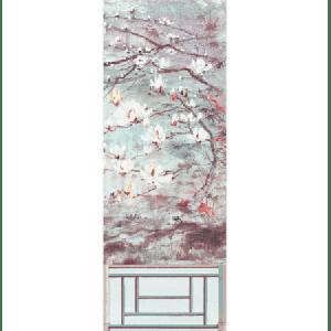 WNM 0002CRESP6 CRESTED CRANE PANEL 6 Turquoise Red Scalamandre Wallpaper