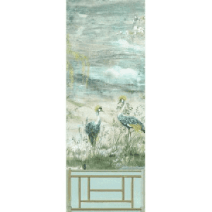 WNM 0004CRESP3 CRESTED CRANE PANEL 3 Green Gold Scalamandre Wallpaper