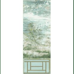 WNM 0004CRESP4 CRESTED CRANE PANEL 4 Green Gold Scalamandre Wallpaper