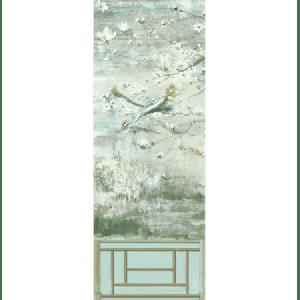 WNM 0004CRESP5 CRESTED CRANE PANEL 5 Green Gold Scalamandre Wallpaper