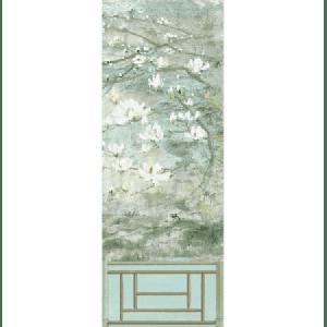WNM 0004CRESP6 CRESTED CRANE PANEL 6 Green Gold Scalamandre Wallpaper