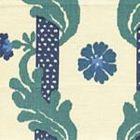 302031F-CU HENRIOT FLORAL Blues on Ecru Quadrille Fabric
