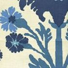 302041F-CU HENRIOT FLORAL Blue French Green on Ecru Quadrille Fabric