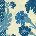 302042F-CU HENRIOT FLORAL Turquoise on Ecru Quadrille Fabric