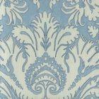 306247F-TAJ BORGHESE Navy Windsor Blue Sky on Cream Linen Quadrille Fabric