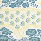 306430C-03CTN LEOPARDO II Turquoise Teal yellow on Cotton Sateen Quadrille Fabric
