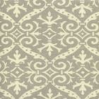 306495F-06 FRENCH DAMASK REVERSE Soft Gray on Tint Quadrille Fabric