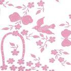5050-05WP BIRDS II Pink On White Quadrille Wallpaper