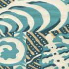 AC100-13 FERNS Turquoise Beige Dark Turquoise on Tint Quadrille Fabric