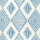 AC850-05 SAFARI EMBROIDERY French Blue on Tint Quadrille Fabric