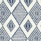 AC850-09 SAFARI EMBROIDERY New Navy on Tint Quadrille Fabric
