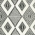 AC850-11 SAFARI EMBROIDERY Black on Tint Quadrille Fabric