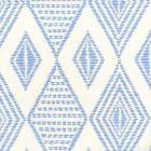 AP850-05 SAFARI EMBROIDERY French Blue On Almost White Quadrille Wallpaper