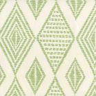 AP850-06 SAFARI EMBROIDERY Jungle Green On Almost White Quadrille Wallpaper