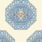 HC1700W-01WP MEDALLION Celeste Blue On Cream Quadrille Wallpaper