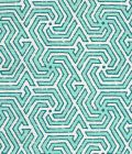 2520-01 MAZE REVERSE TWO COLORS Turquoise DK Turquoise on Tint Quadrille Fabric