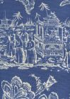 306356F ROYAL JOURNEY REVERSE II New Navy on Tint Quadrille Fabric