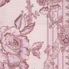 306770F-01LC TOILE DES ROSES Pinks on Pale Pink on Linen Cotton Quadrille Fabric