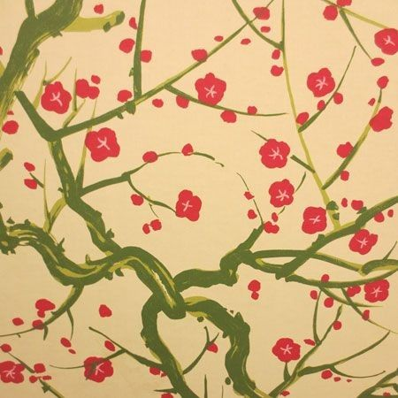 Clarence House Flowering Quince Green 6847-2 Wallpaper | Discount Fabric and Wallpaper Online Store