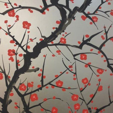 Clarence House Flowering Quince Red Black On Pewter 6847-4 Wallpaper | Discount Fabric and Wallpaper Online Store