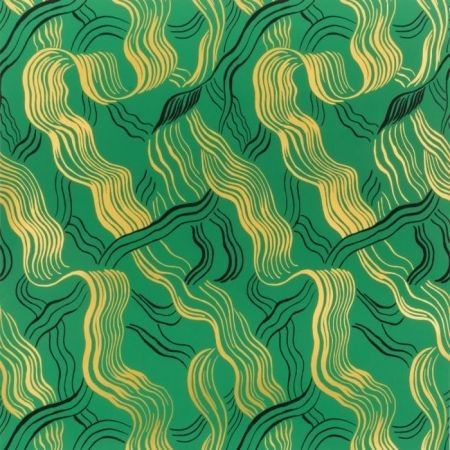 Groundworks Jubilee Green Gold Black Wallpaper Discount Fabric And