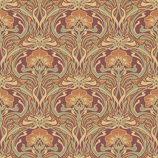 M1194 Donovan Floral Burnt Sienna Nouveau Brewster Wallpaper | Discount Fabric and Wallpaper Online Store