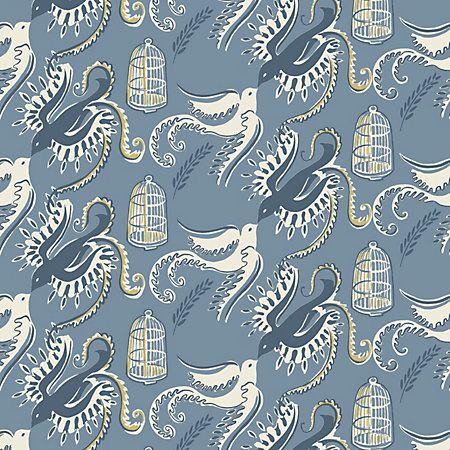 WSB 00560595 FREDSFAGLAR Blue Sandberg Wallpaper   Discount Fabric and Wallpaper Online Store